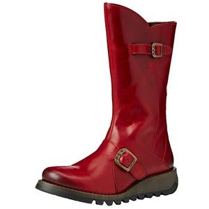 Fly London Red Leather Mid Calf Boots